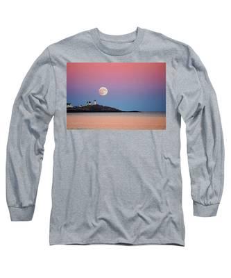 Full Moon Rising At Nubble Light Long Sleeve T-Shirt