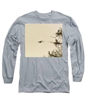 Great Blue Heron Nest Building Long Sleeve T-Shirt