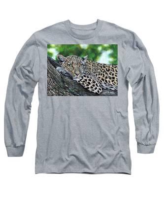 Leopard On Branch Long Sleeve T-Shirt