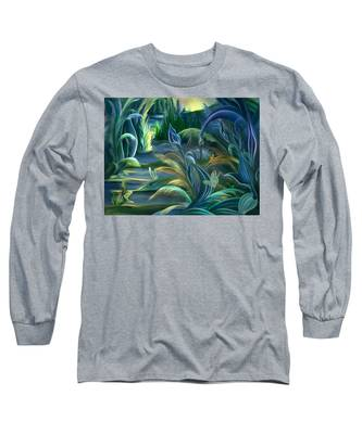 Mural  Insects Of Enchanted Stream Long Sleeve T-Shirt