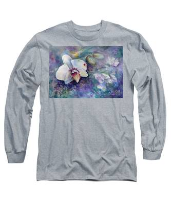 Phalaenopsis Orchid With Hyacinth Background Long Sleeve T-Shirt