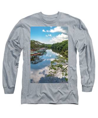 River Boats Docked In Negril, Jamaica Long Sleeve T-Shirt
