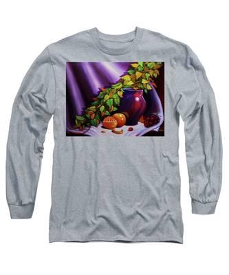 Still Life W/purple Vase Long Sleeve T-Shirt