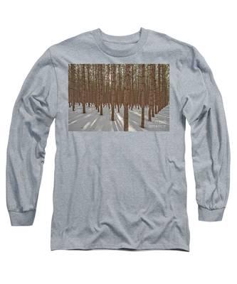 Sunlight Filtering Through A Pine Forest Long Sleeve T-Shirt