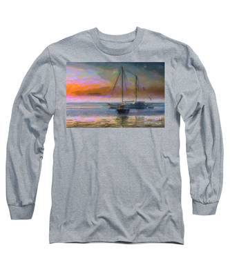 Sunrise With Boats Long Sleeve T-Shirt