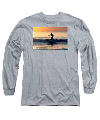 Surfer At Dusk Long Sleeve T-Shirt