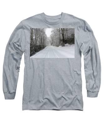 Tire Tracks In Fresh Snow Long Sleeve T-Shirt