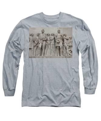 Travis And Crockett On Alamo Monument Long Sleeve T-Shirt