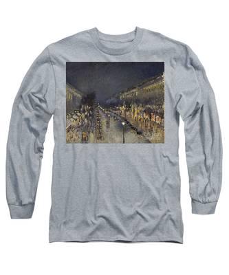 The Boulevard Montmartre At Night Long Sleeve T-Shirt