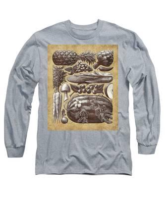 Farmer's Market - Sepia Long Sleeve T-Shirt
