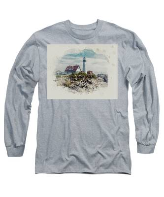 Portland Head Lighthouse Cape Elizabeth Maine Long Sleeve T-Shirt