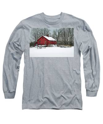 Red New England Colonial In Winter Long Sleeve T-Shirt