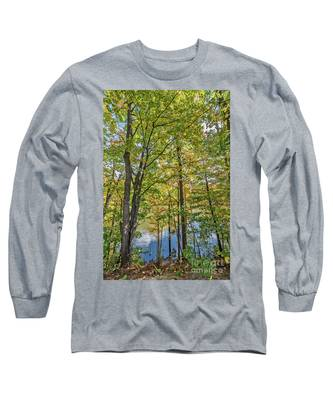 White Clouds Reflected In Rippling Water Long Sleeve T-Shirt
