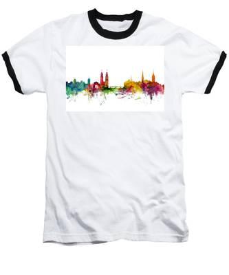 Zurich Switzerland Skyline Baseball T-Shirt