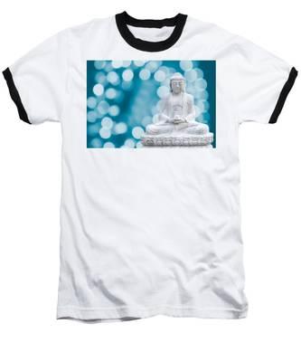 Buddha Enlightenment Blue Baseball T-Shirt