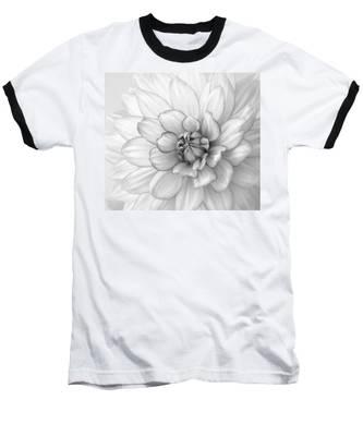 Dahlia Flower Black And White Baseball T-Shirt