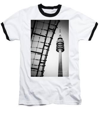 Munich - Olympiaturm And The Roof - Bw Baseball T-Shirt