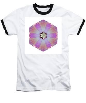 Pink And White Hibiscus Moscheutos I Flower Mandala White Baseball T-Shirt