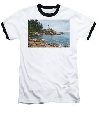 Point Atkinson Lighthouse And Rocky Shore Baseball T-Shirt