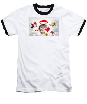 Three Christmas Kittens Baseball T-Shirt
