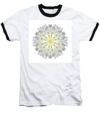 Giant White Dahlia I Flower Mandala White Baseball T-Shirt