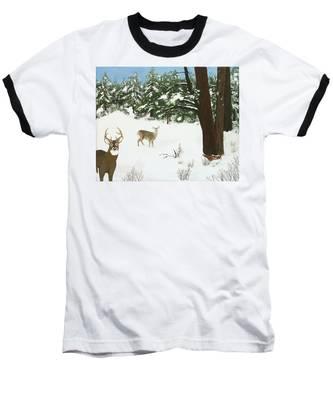 Wintering Whitetails Baseball T-Shirt