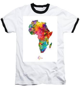 Africa Watercolor Map Baseball T-Shirt