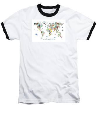Animal Map Of The World For Children And Kids Baseball T-Shirt