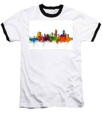 Boston Massachusetts Skyline Baseball T-Shirt