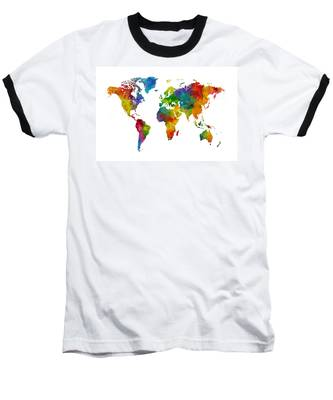 Map Of The World Map Watercolor Baseball T-Shirt