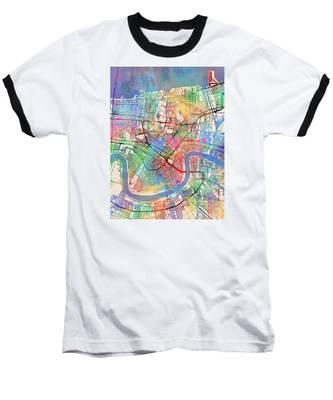 New Orleans Street Map Baseball T-Shirt