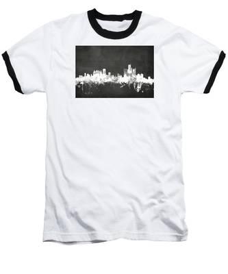 Detroit Michigan Skyline Baseball T-Shirt