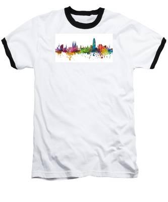 Barcelona Spain Skyline Panoramic Baseball T-Shirt