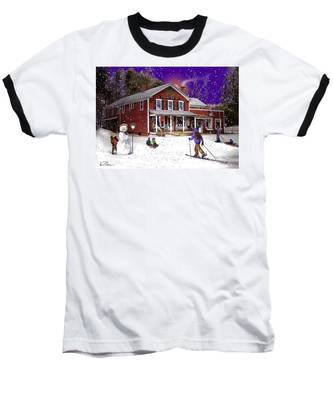First Snow At The South Woodstock Country Store Baseball T-Shirt