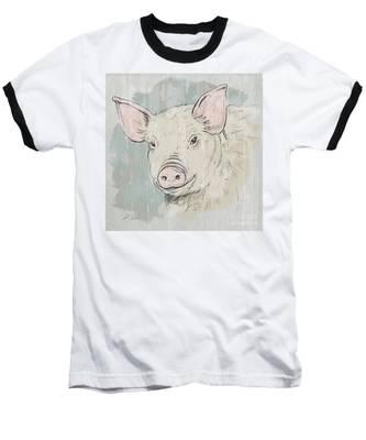 Pig Portrait-farm Animals Baseball T-Shirt