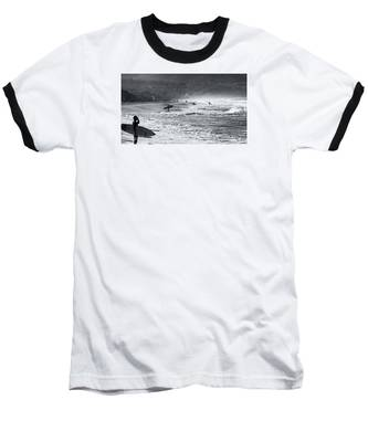 Waiting For The Surf By Mike-hope Baseball T-Shirt