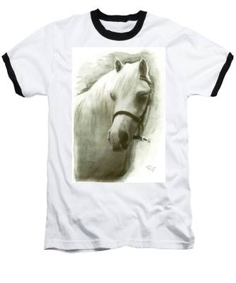 White Welsh Pony Baseball T-Shirt