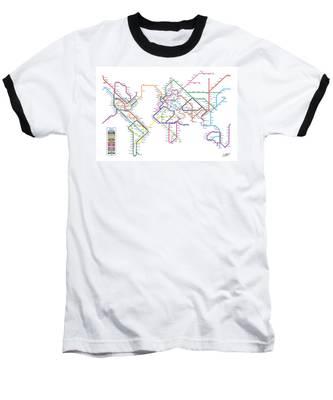 World Metro Tube Subway Map Baseball T-Shirt