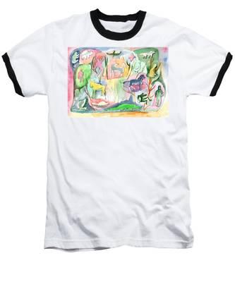 Abstraction Living World Baseball T-Shirt