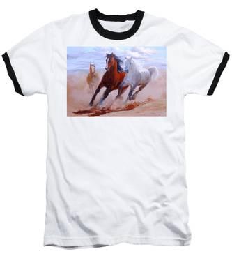 Adventurous Horses Baseball T-Shirt