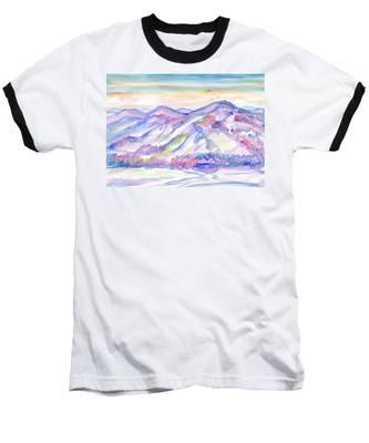 Winter Mountain Landscape Baseball T-Shirt