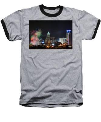 4th Of July Firework Over Charlotte Skyline Baseball T-Shirt