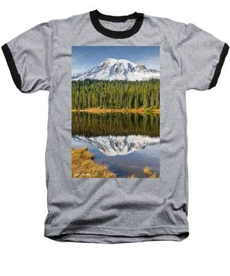 Mount Rainier And Reflection Lakes In The Fall Baseball T-Shirt