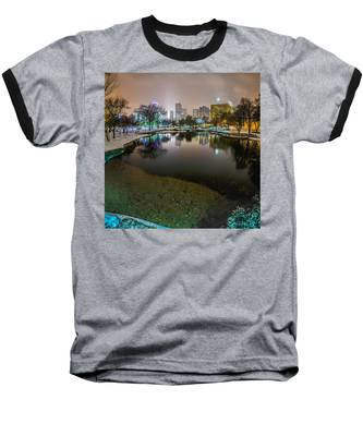 Charlotte Nc Skyline Covered In Snow In January 2014 Baseball T-Shirt