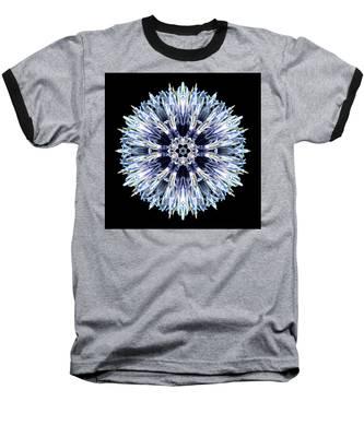 Blue Globe Thistle Flower Mandala Baseball T-Shirt