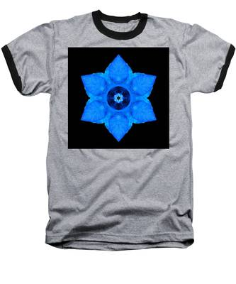 Blue Pansy II Flower Mandala Baseball T-Shirt