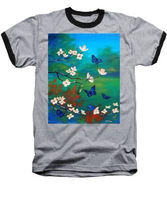 Butterfly Blue Baseball T-Shirt
