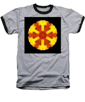 California Poppy Flower Mandala Baseball T-Shirt