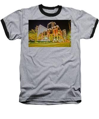 Charlotte City Skyline Night Scene Baseball T-Shirt