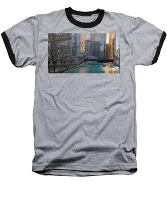 Chicago River Sunset Baseball T-Shirt